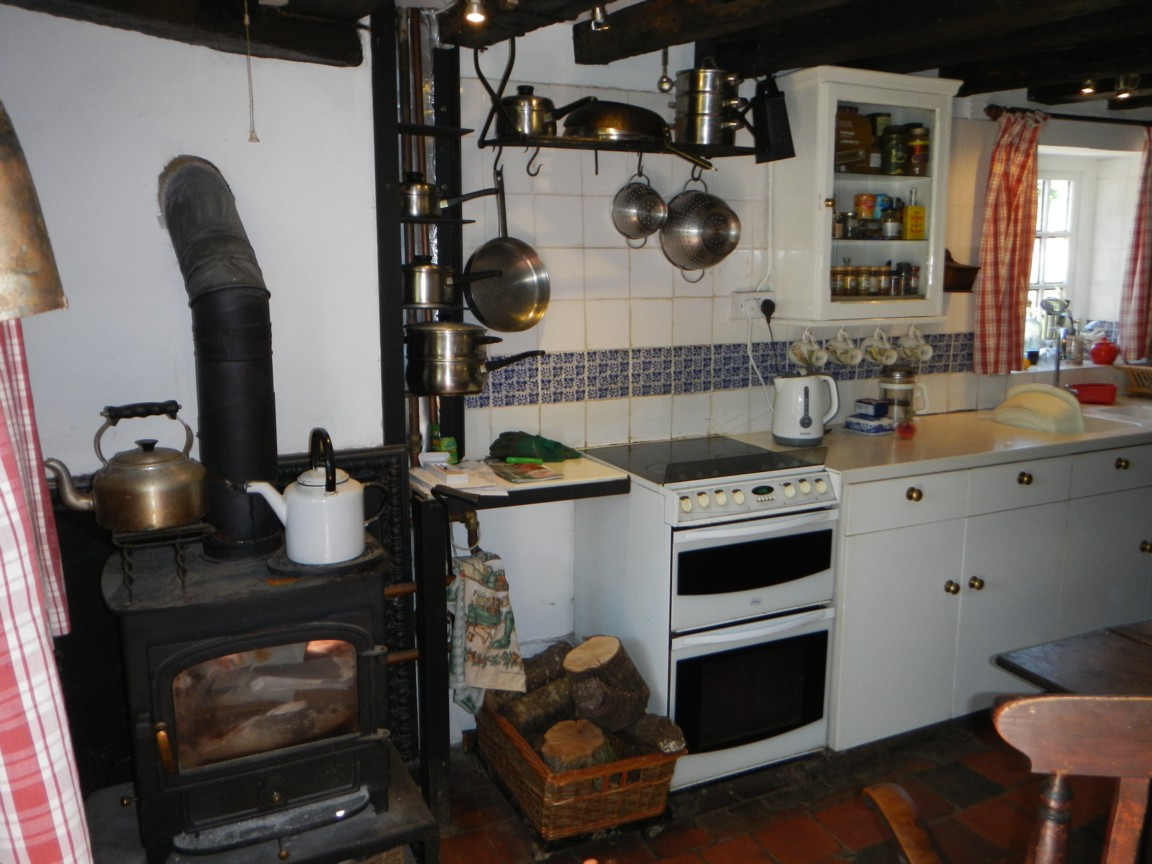 Kitchen with woodburning stove